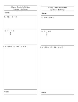 Solving One & Multi-Step Equations (Notes, Homework, and Bellringer)