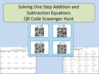 Solving One Step Addition and Subtraction Equations QR Cod