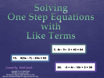 Solving One Step Equations with Like Terms