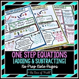 Solving One Step Equation Addition and Subtraction No Prep Note Pages