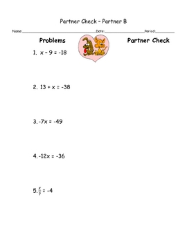 Solving One-Step Equation, Fun Engaging Partner Check and Review