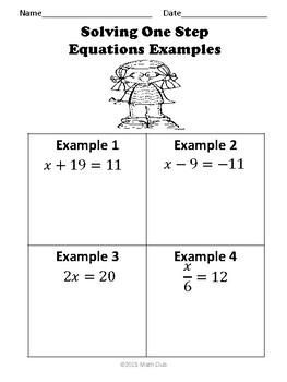 One Step Equations No Prep Lesson