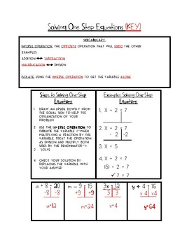 Solving One Step Equation Notes