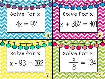 Solving One-Step Equation Task Cards
