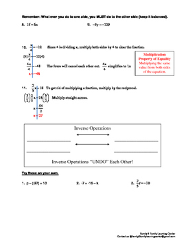 Solving One-Step Equation Worksheet