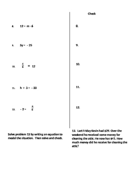 Algebra 03 - Solving One-Step Equations