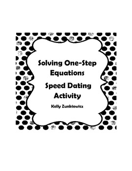 Solving One-Step Equations Activity - Speed Dating