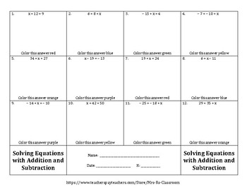 Solving One-Step Equations (Adding and Subtracting) Color by Numbers