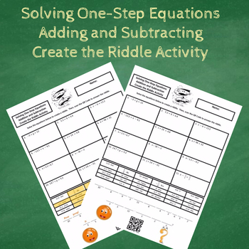 Solving One-Step Equations Adding and Subtracting Create the Riddle Activity