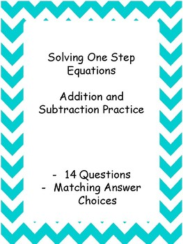 Solving One Step Equations Addition/Subtraction Matching