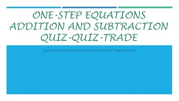 Solving One-Step Equations (Addition and Subtraction)