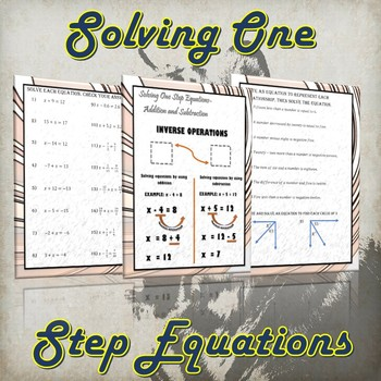 Solving One Step Equations- Addition and Subtraction (Guided Notes and Practice)