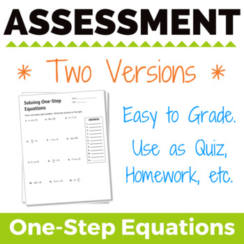 Solving One-Step Equations Assessment