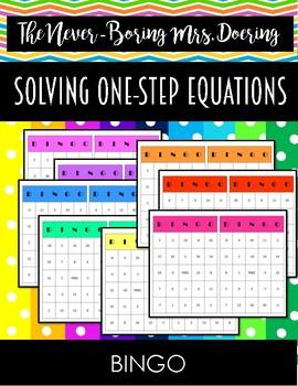 Solving One-Step Equations BINGO Activity
