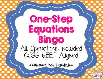 Solving One-Step Equations BINGO CCSS 6.EE.7 Aligned