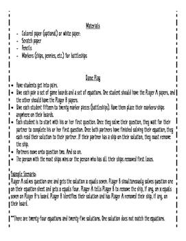 Solving One-Step Equations Partner Battleship Game
