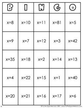 Solving One Step Equations Bingo