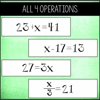 Solving One Step Equations -  Chain Activity