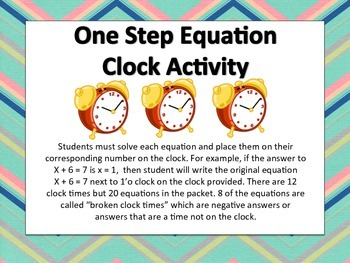 Solving One Step Equations Clock Activity
