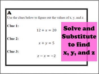 Solving One Step Equations Clue Task Cards