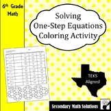 Solving One-Step Equations Coloring Activity (6.10A)