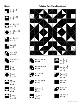 Solving One-Step Equations Coloring Worksheet