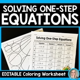 Solving One-Step Equations Coloring Worksheet - Editable
