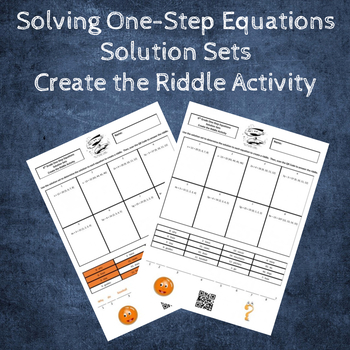 Solving One-Step Equations Create the Riddle Activity - Solution Sets Freebie