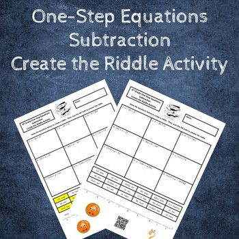 Solving One-Step Equations Create the Riddle Activity - Subtraction