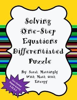 Solving One-Step Equations Differentiated Puzzle