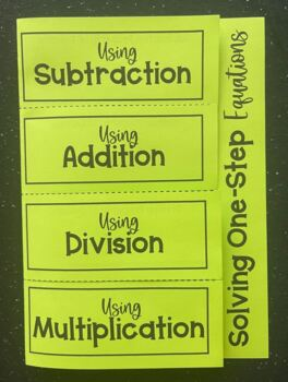 Solving One-Step Equations (Foldable)