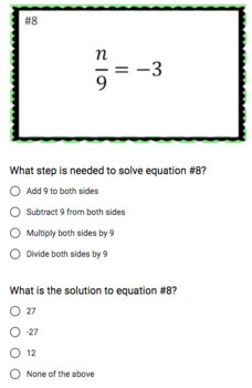 Solving One-Step Equations (Google Form & Interactive Video Lesson!)
