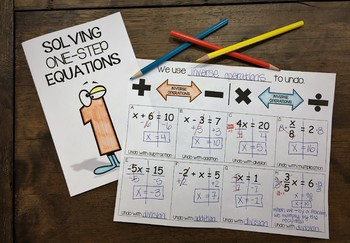 Solving One-Step Equations Interactive Notebook Foldable