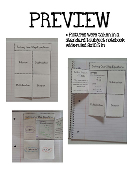 Solving One-Step Equations Interactive Notebook Foldable Notes