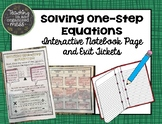 Solving One-Step Equations Interactive Notebook Page and Exit Tickets
