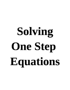 Solving One Step Equations Lesson