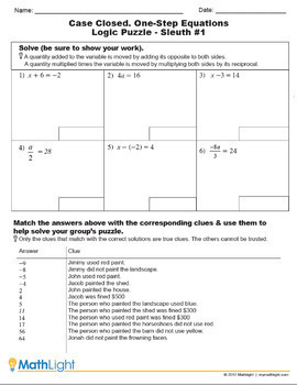 Solving One-Step Equations Logic Puzzle Group Activity | Distance Learning