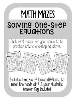 Solving One-Step Equations MAZE PACK! 4 Mazes!!