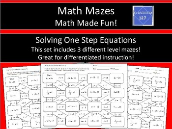 Solving One Step Equations Math Maze