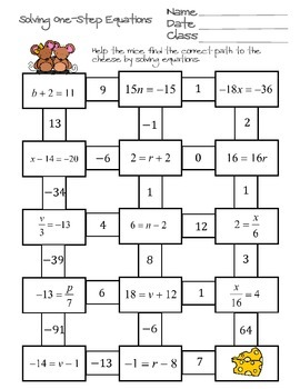 Solving One Step Equations Maze By Ayers Math Flairs Tpt