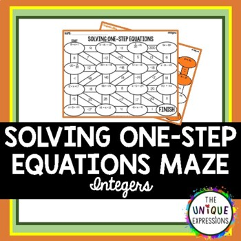 Solving One Step Equations Maze with Integers