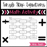 Solving One-Step Equations Maze Activity