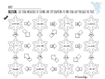 Solving One Step Equations Maze - Winter Edition
