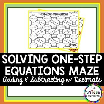 Solving One Step Equations Maze with Decimals
