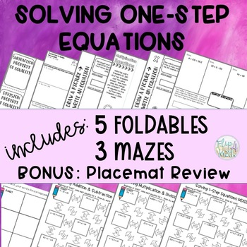 Solving One-Step Equations Mazes and Interactive Notebook Foldables