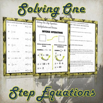 Solving One Step Equations- Multiplication & Division (Guided Notes & Practice)