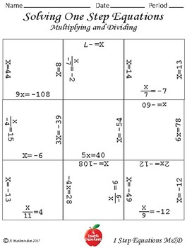 Solving One Step Equations Multiplying & Dividing Block Puzzles