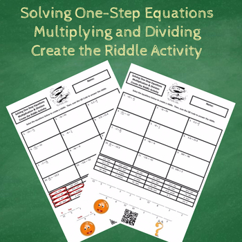 Solving One-Step Equations Multiplying and Dividing Create the Riddle Activity