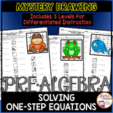 Solving One-Step Equations Mystery Drawing (3 Differentiat