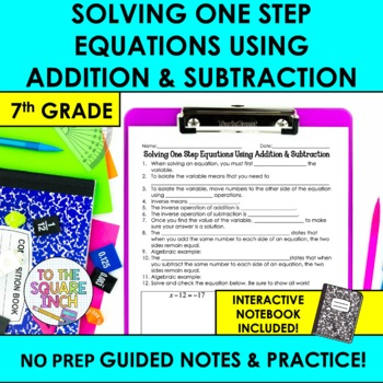 Solving One Step Equations Notes